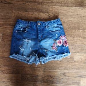 Hi-Waisted Distressed Festival Boho Denim Shorts